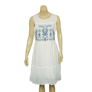 9016 Free People Embroidered Ladder Tunic Dress M